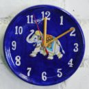 Blue Pottery, wall clock, handmade wall clock, pottery clay, blue and white pottery