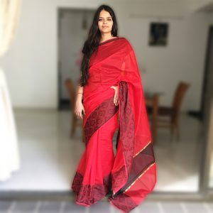 Red Assam Kosa Silk Handloom saree buy online