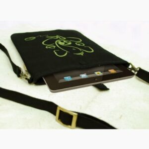 Black Green Canvas Ganesha Tablet Sleeve 7 Inch