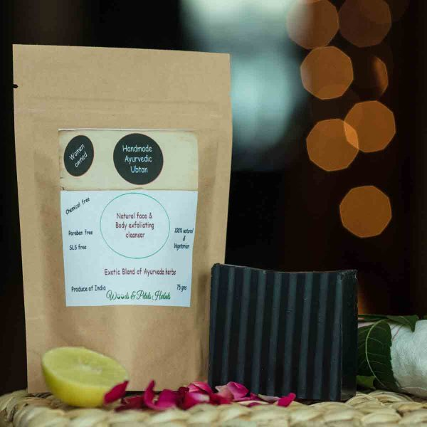 Ayurvedic Organic Handmade Ubtan and Charcoal Soap Combo
