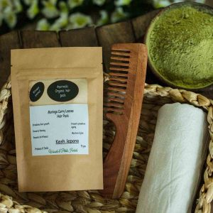 Handmade Organic Moringa Curry Leaf Hair Pack & Neem Wood Comb Combo