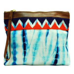 Indiegenius Blue Shibori Clutch Bag for Women