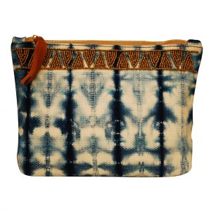 Indigo Blue Shibori Clutch Bag for Women