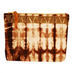 Earthy Brown Shibori Clutch Bag for Women