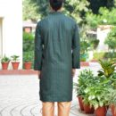 Khadi Silk Bottle Green Colored Full Sleeves Kurta