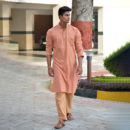 Peach Full Sleeves Khadi Cotton Long Kurta
