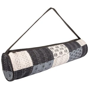 Black & White Kantha Embroidery Hand Block Printed Yoga Mat Bag