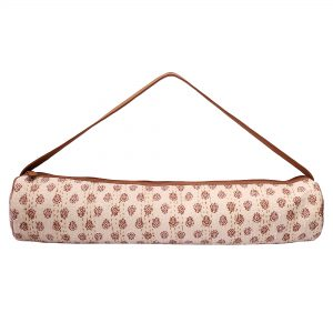 Beige & Brown Kantha Embroidery Hand Block Printed Yoga Mat Bag