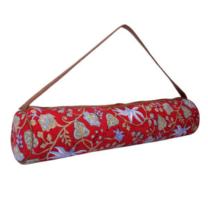 vRed Floral Kantha Embroidery Hand Block Printed Yoga Mat Bag