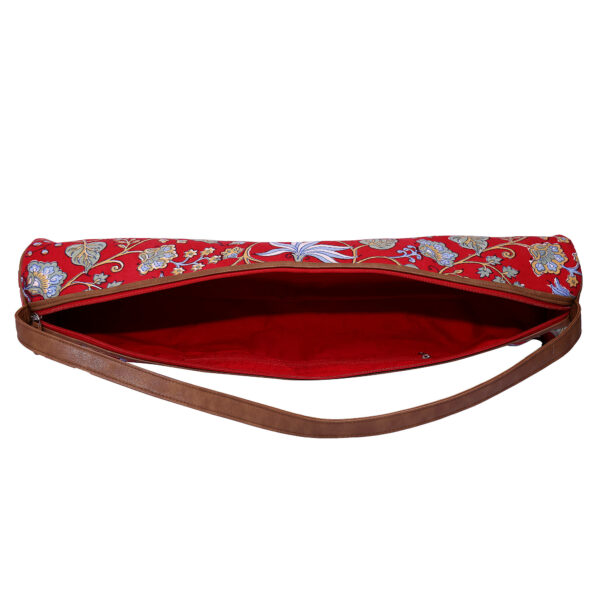 Red Floral Kantha Embroidery Hand Block Printed Yoga Mat Bag