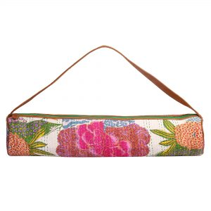 White Floral Kantha Embroidery Hand Block Printed Yoga Mat Bag