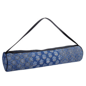 Indigo & White Kantha Embroidery Hand Block Printed Yoga Mat Bag