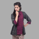 Wine and Black High Neck Flared Top in 3/4th Sleeves