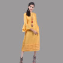 Sunshine Yellow Khadi Silk tunic with Flared Sleeves