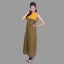 Mustard and Brown Khadi Tunic with Front Slit