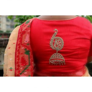 Peacock Jhumka Silk Blouse Piece