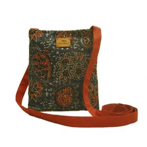 Multi Color Ajrak Fabric Sling Bag