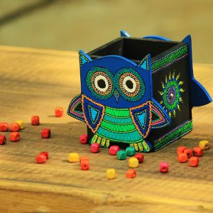 Pastel Painted Owl Pen Holder