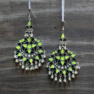 Black and Green Oxidized Earrings