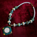 White and Green Beaded Necklace