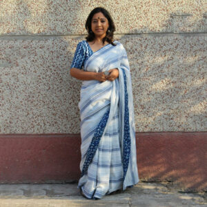 Blue & White Khadi Cotton Saree