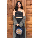 Handcrafted Blue Circular Sling Bag