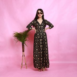 LOTUS LAPEL DRESS, handprinted, rayon, cotton