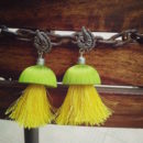 Green and Yellow Parrot Jhumka Earrings
