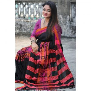 Black Fish Motif Handwoven Saree