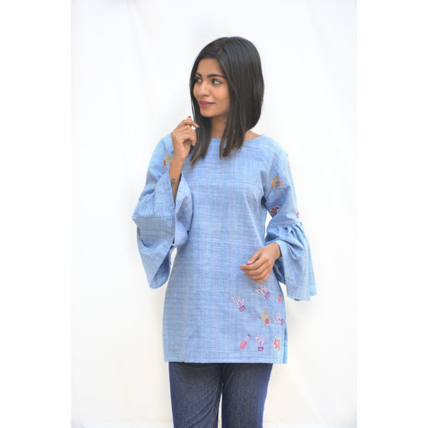 Blue Khadi Cotton Cactus Top with Flared Sleeves