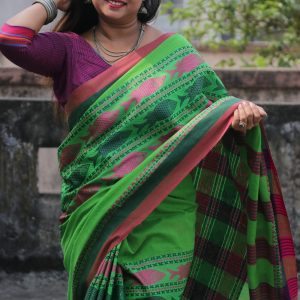Green Fish Motif Khadi Handwoven Saree