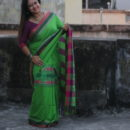 Khadi Handwoven saree with fish motif, green