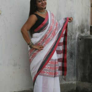 White Fish Motif Khadi Handwoven Saree