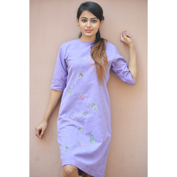 Purple Khadi Cotton Cactus Tunic