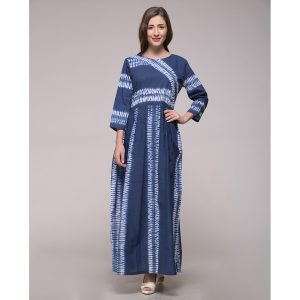 Blue Shibori Stripes Dress In Cotton