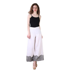Bridge Cut Cotton White Palazzo