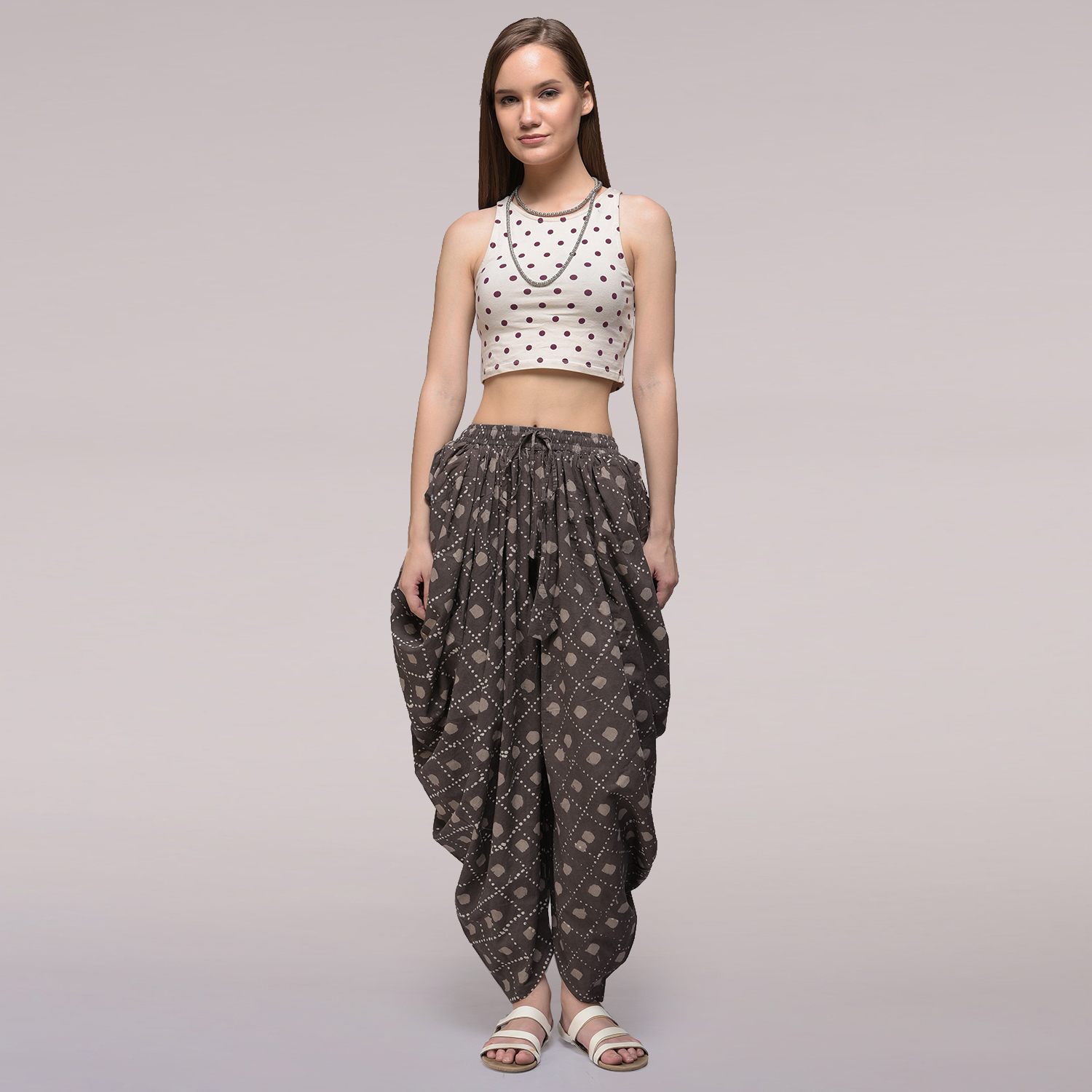 68b032325d10f Buy Brown Elasticated Waist Dabu-printed Cotton Dhoti Pants Online in India