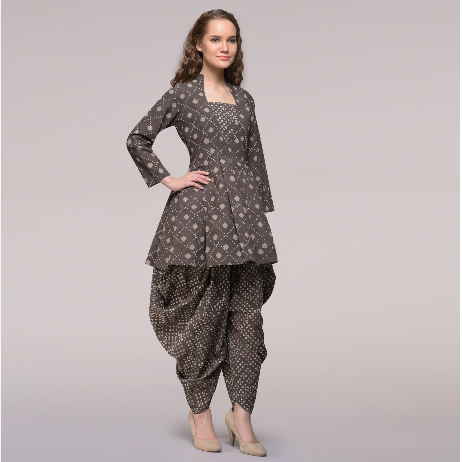 7935d21444b Home Shop By Categories. Brown Pleated Dabu-printed Cotton Tunic with Dhoti  Pants ...