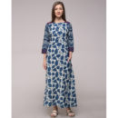 DABU PRINTED EMBROIDERED BOAT NECK DRESS IN COTTON