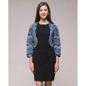Dabu Chevron Printed Shrug In Cotton