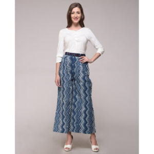 Dabu Printed Cotton Chevron Palazzo Pant With Belt (Set of 2)