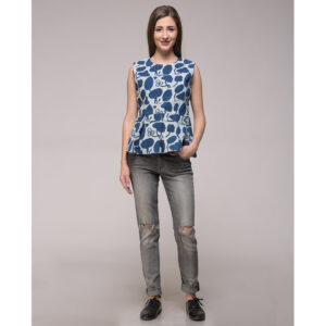 Dabu Printed Floral Peplum Top In Cotton