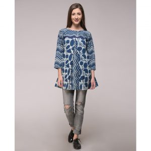 Dabu Printed Pleated Top In Cotton