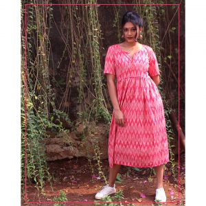 Gulab Ikat Cotton Frock Dress