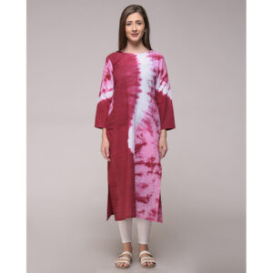 MAROON TIE DYE WAVE PATTERN KURTA IN COTTON