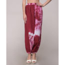 Maroon Tie Dye Elasticated Harem Pant In Cotton