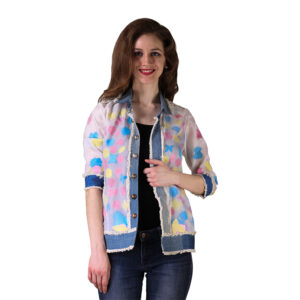 Multicoloured Blank Spaces Organza Denim Jacket