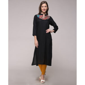 Vintage Silk Kantha Patch Kurta In Cotton Silk
