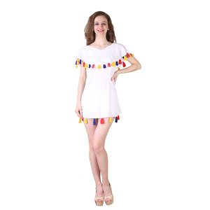 White Cotton Miss Tassel Dress