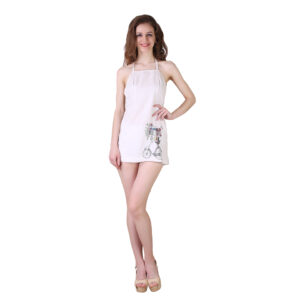 White Cotton Not So Nerdy Short Dress